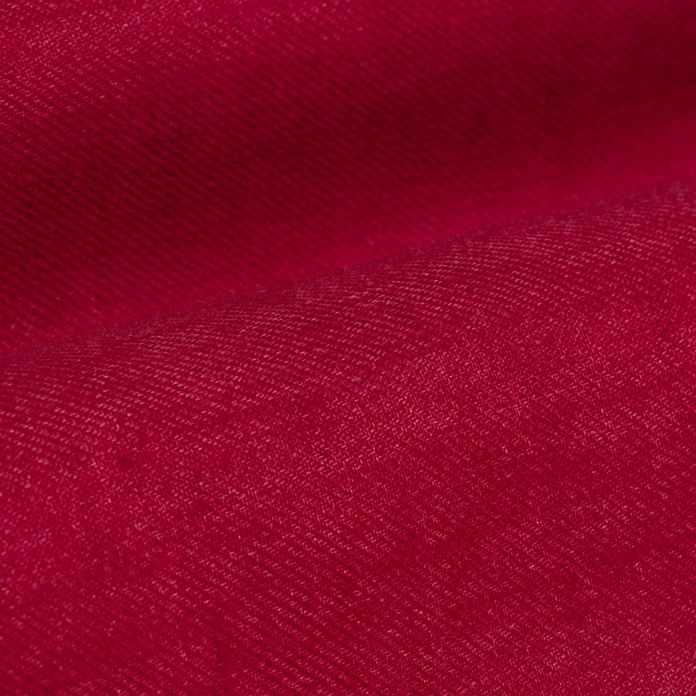 Germirli Kırmızı Keten Flanel Doku Düğmeli Yaka Tailor Fit Gömlek