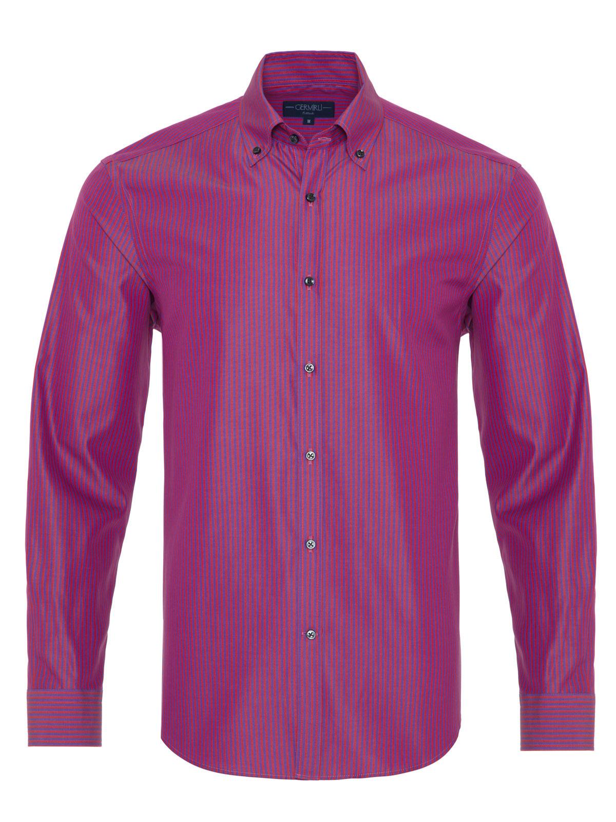 Germirli - Germirli Kırmızı Mor Çizgili Düğmeli Yaka Tailor Fit Gömlek