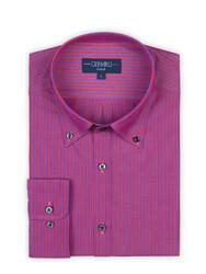 Germirli - Germirli Kırmızı Mor Çizgili Düğmeli Yaka Tailor Fit Gömlek (1)