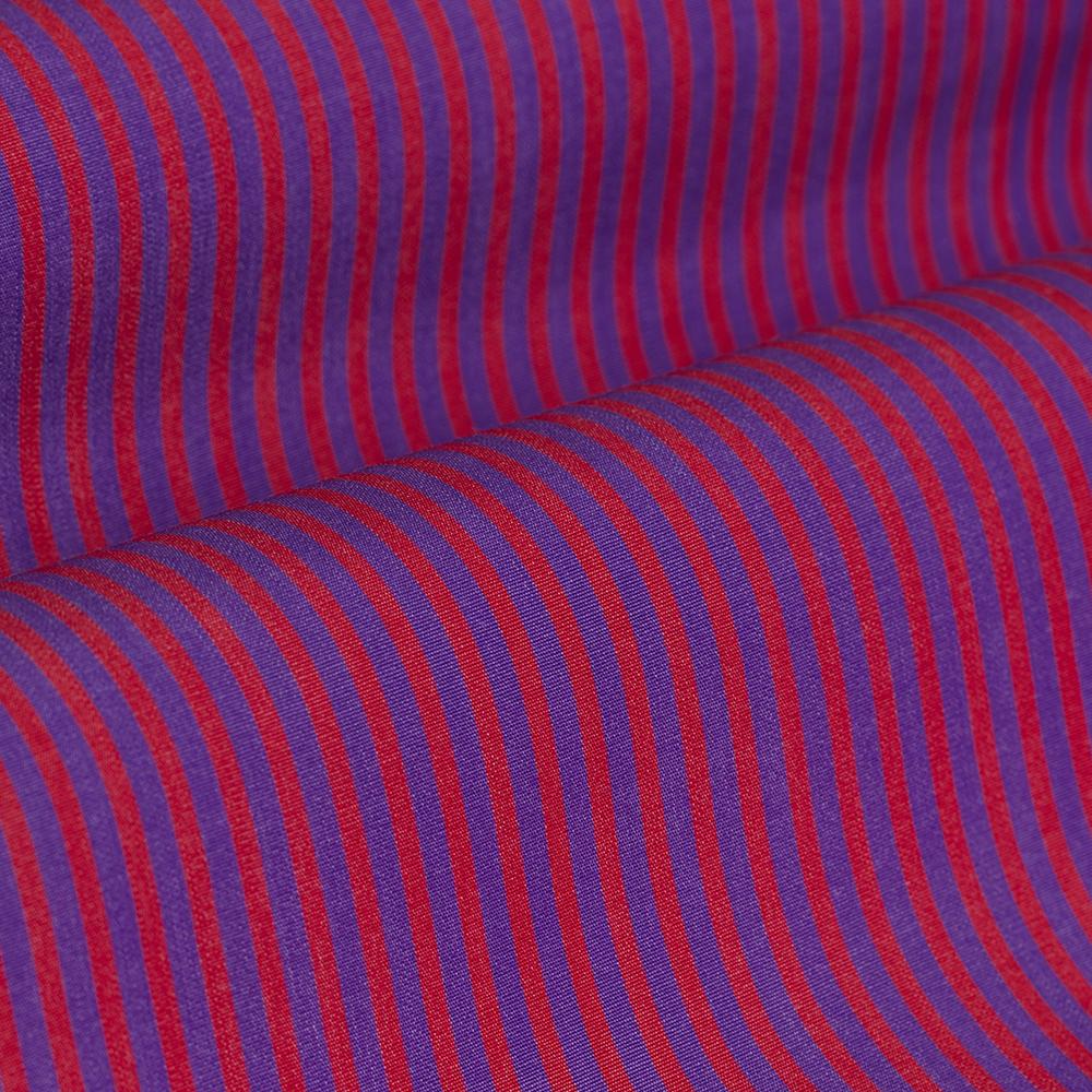Germirli Kırmızı Mor Çizgili Düğmeli Yaka Tailor Fit Gömlek