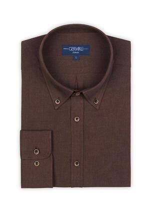 Germirli - Germirli Koyu Kahverengi Flanel Düğmeli Yaka Tailor Fit Gömlek (1)