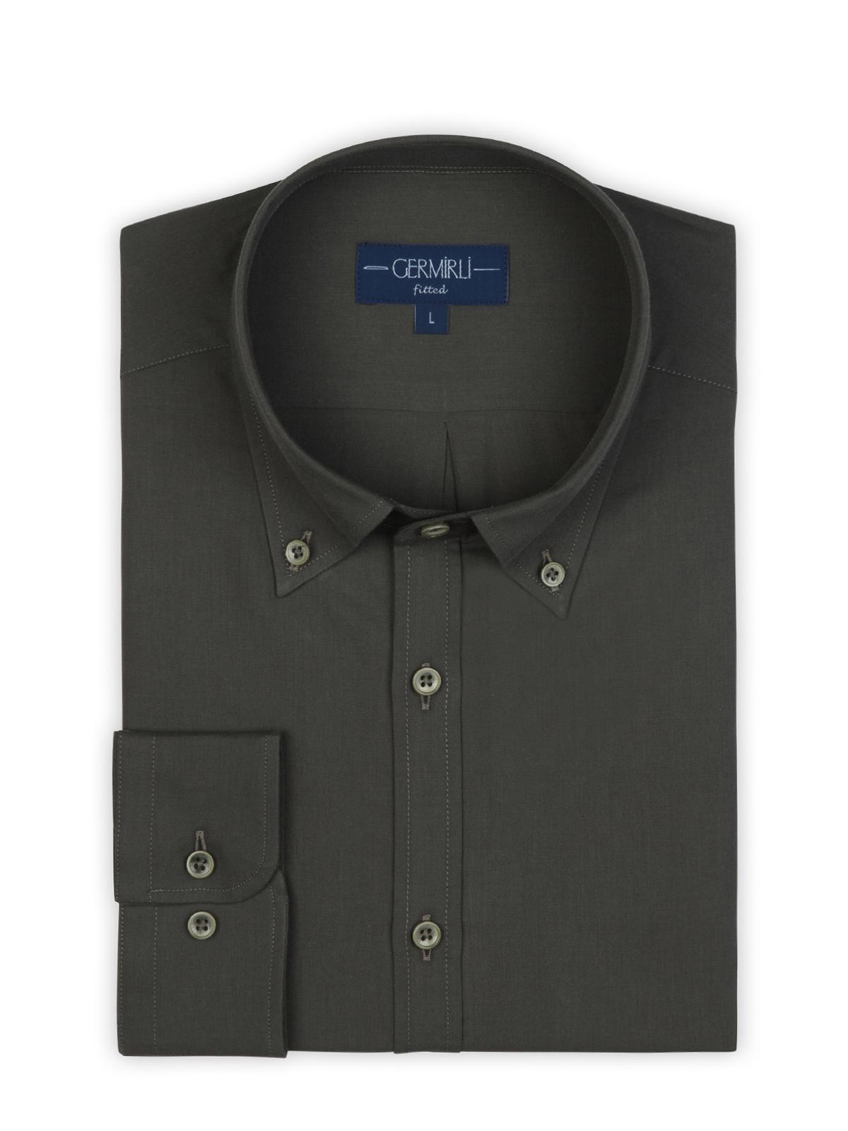 Germirli Koyu Kahverengi Twill Doku Düğmeli Yaka Tailor Fit Gömlek