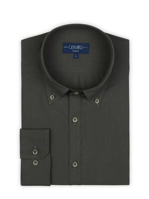 Germirli - Germirli Koyu Kahverengi Twill Doku Düğmeli Yaka Tailor Fit Gömlek (1)