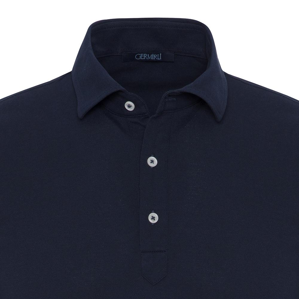 Germirli Koyu Lacivert Gömlek Yaka Polo Tailor Fit T-Shirt