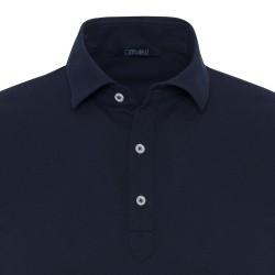 Germirli Koyu Lacivert Gömlek Yaka Polo Tailor Fit T-Shirt - Thumbnail