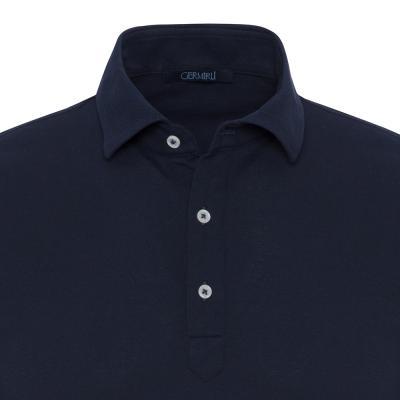 Germirli - Germirli Koyu Lacivert Gömlek Yaka Polo Tailor Fit T-Shirt (1)