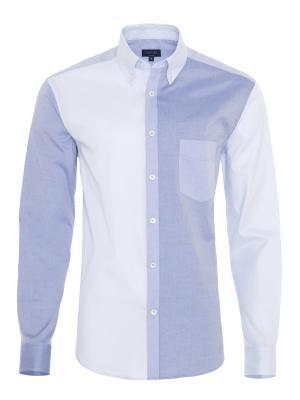 Germirli - Germirli Koyu Mavi Açık Mavi Parçalı Düğmeli Yaka Tailor Fit Gömlek