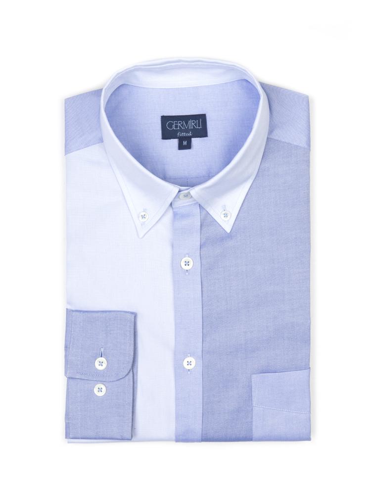 Germirli Koyu Mavi Açık Mavi Parçalı Düğmeli Yaka Tailor Fit Gömlek