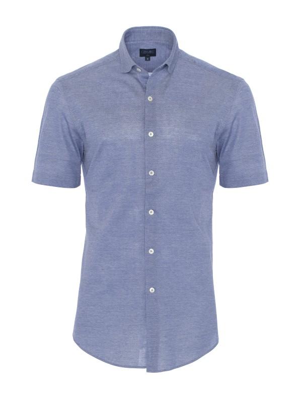 Germirli - Germirli Koyu Mavi Klasik Yaka Örme Kısa Kollu Slim Fit Gömlek