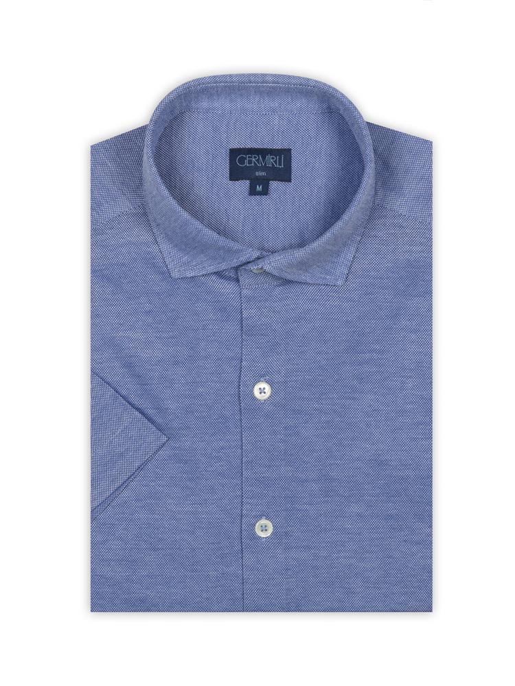 Germirli Koyu Mavi Klasik Yaka Örme Kısa Kollu Slim Fit Gömlek