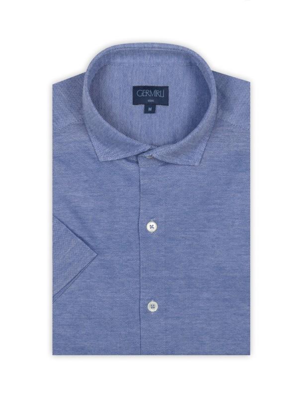 Germirli - Germirli Koyu Mavi Klasik Yaka Örme Kısa Kollu Slim Fit Gömlek (1)