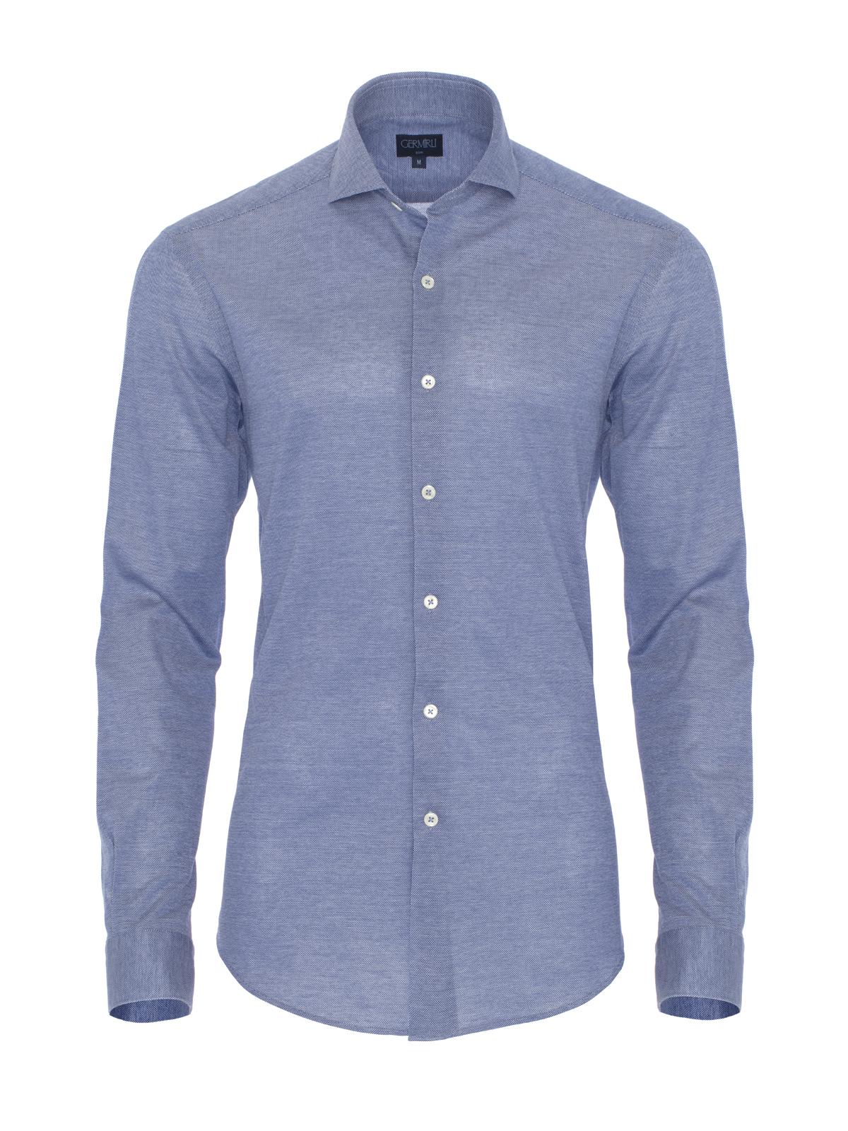 Germirli Koyu Mavi Klasik Yaka Piquet Örme Slim Fit Gömlek