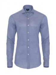 Germirli - Germirli Koyu Mavi Klasik Yaka Piquet Örme Slim Fit Gömlek