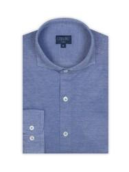Germirli - Germirli Koyu Mavi Klasik Yaka Piquet Örme Slim Fit Gömlek (1)