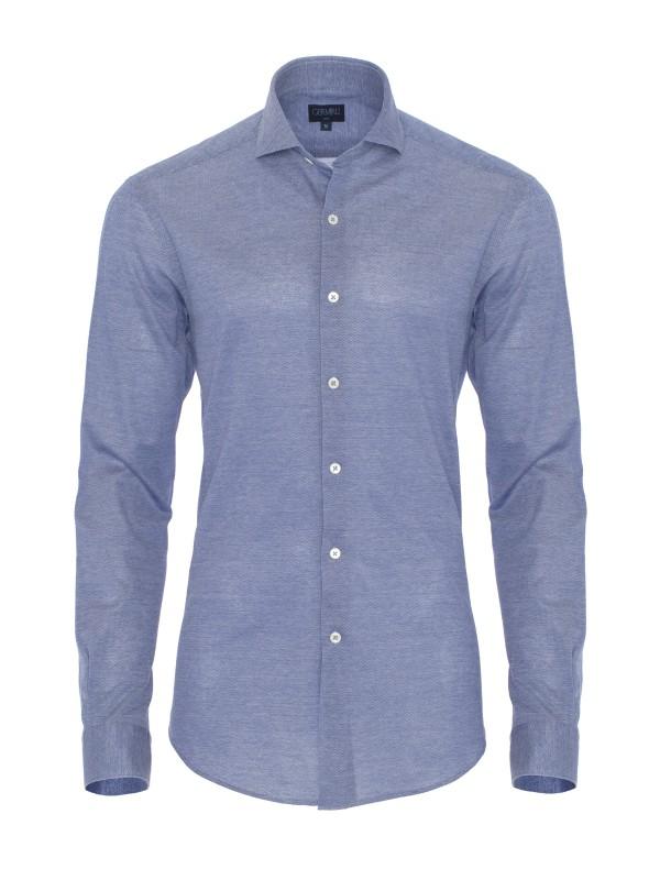 Germirli - Germirli Koyu Mavi Klasik Yaka Slim Fit Gömlek