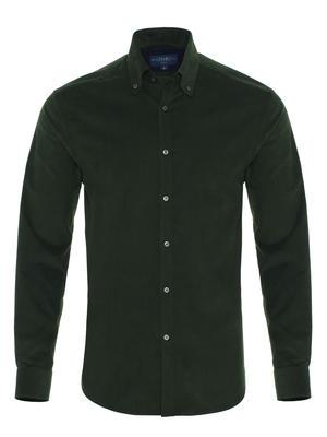 Germirli - Germirli Koyu Yeşil Kadife Düğmeli Yaka Tailor Fit Gömlek