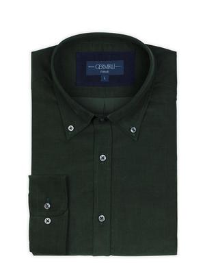 Germirli - Germirli Koyu Yeşil Kadife Düğmeli Yaka Tailor Fit Gömlek (1)