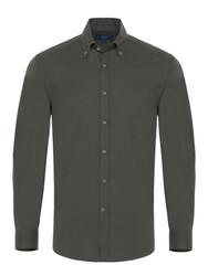 Germirli - Germirli Koyu Yeşil Twill Doku Düğmeli Yaka Tailor Fit Gömlek
