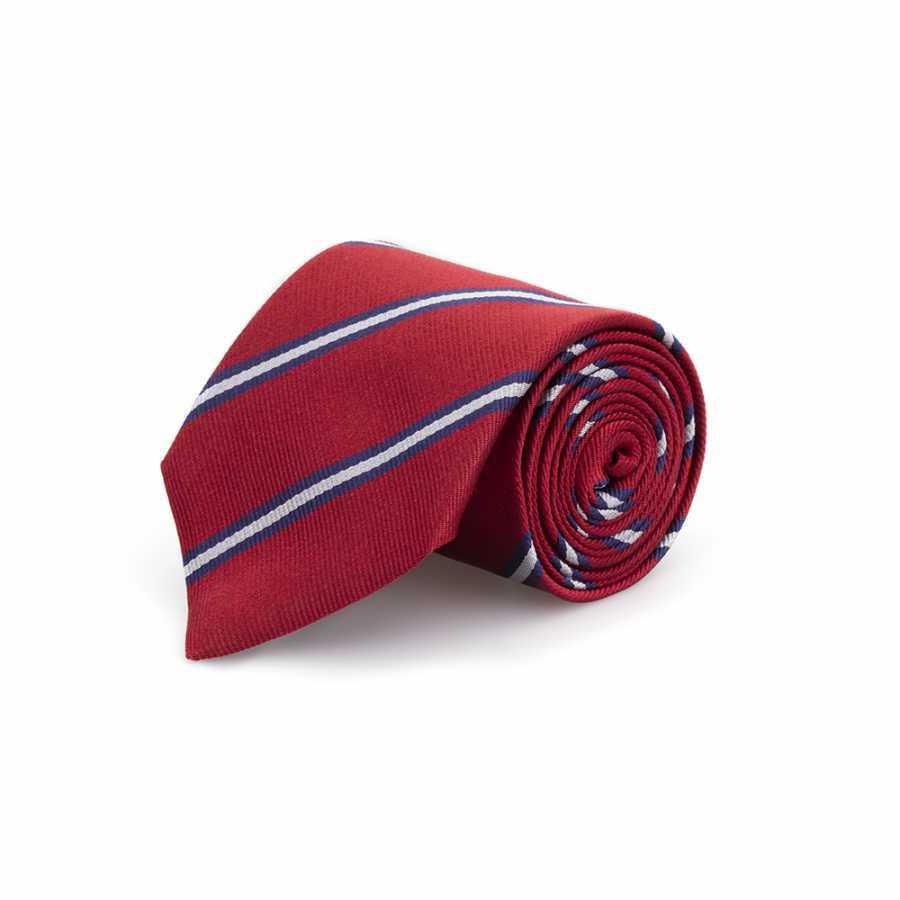 Germirli Kırmızı Lacivert Çizgili İpek Kravat