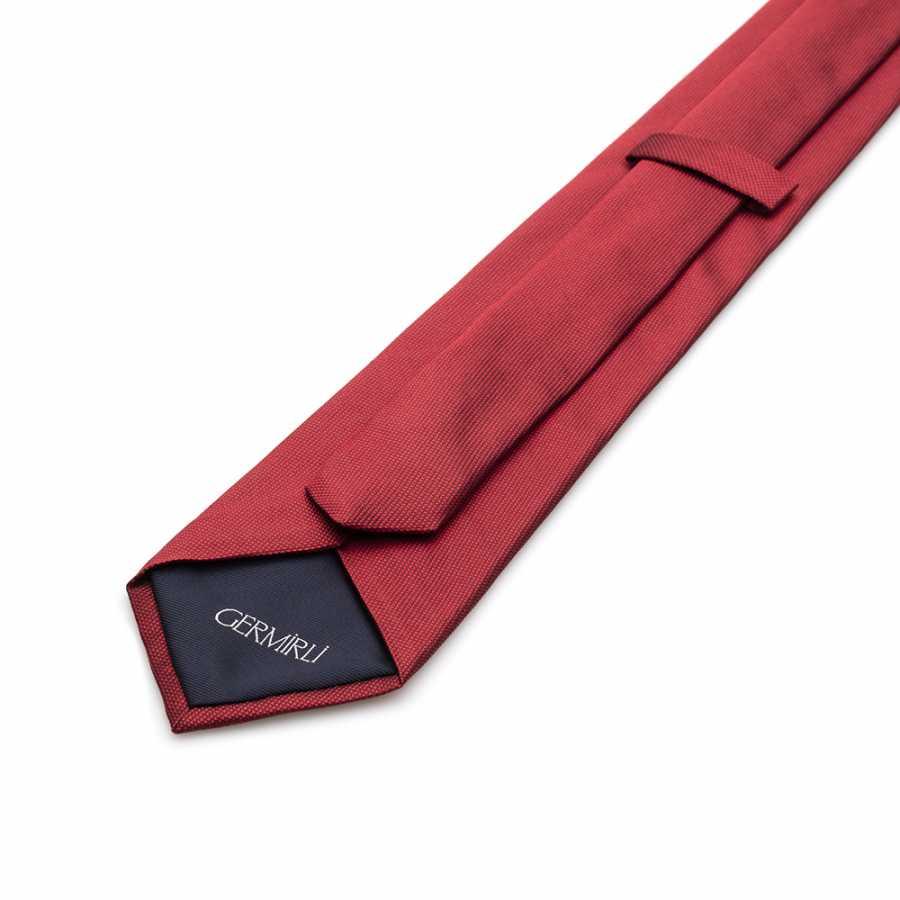 Germirli Düz Kırmızı İpek Kravat