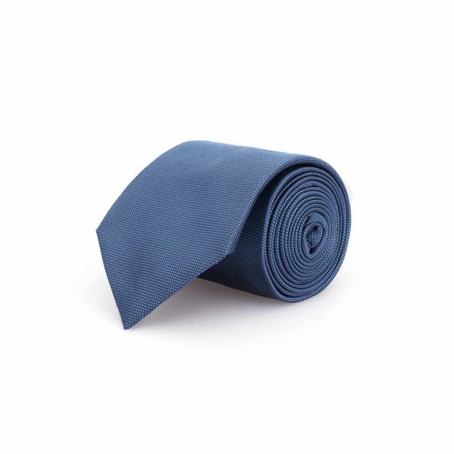Germirli Düz Gri Mavi İpek Kravat