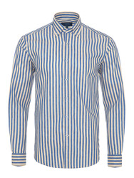 Germirli - Germirli Krem Mavi Çizgili Pamuk Keten Düğmeli Yaka Tailor Fit Gömlek