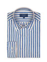 Germirli - Germirli Krem Mavi Çizgili Pamuk Keten Düğmeli Yaka Tailor Fit Gömlek (1)