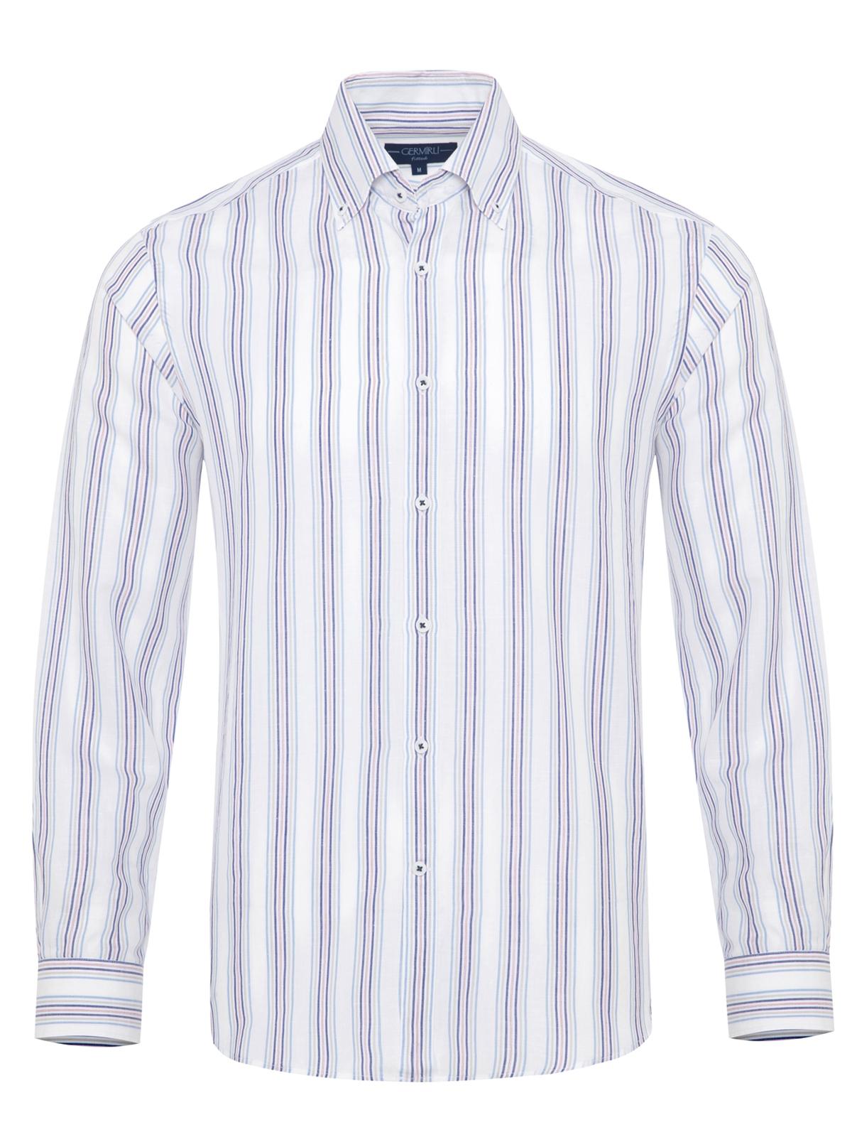 Germirli - Germirli Laci Mavi Gri Beyaz Çizgili Düğmeli Yaka Tailor Fit Gömlek