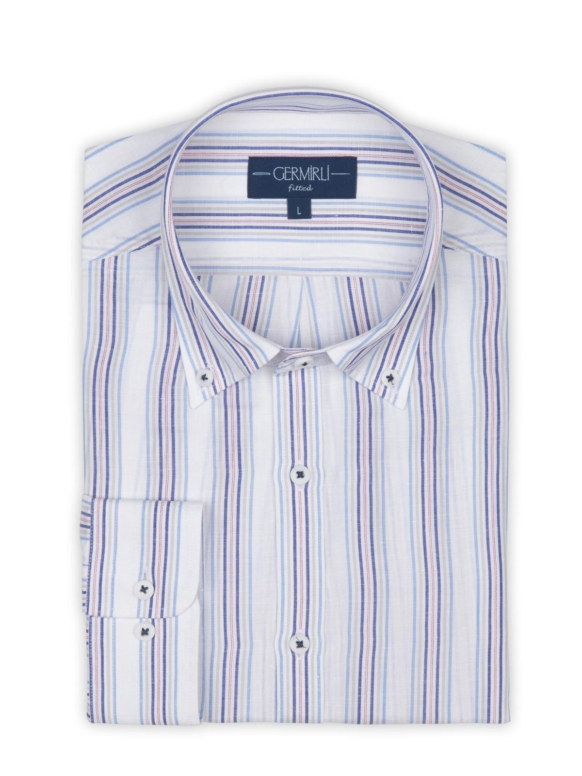 Germirli Laci Mavi Gri Beyaz Çizgili Düğmeli Yaka Tailor Fit Gömlek