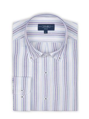 Germirli - Germirli Laci Mavi Gri Beyaz Çizgili Düğmeli Yaka Tailor Fit Gömlek (1)
