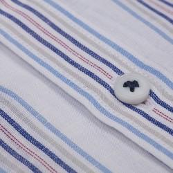 Germirli Laci Mavi Gri Beyaz Çizgili Düğmeli Yaka Tailor Fit Gömlek - Thumbnail