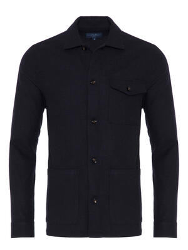 Germirli - Germirli Lacivert %100 Yün Tailor Fit Wool Heritage Ceket Gömlek (1)