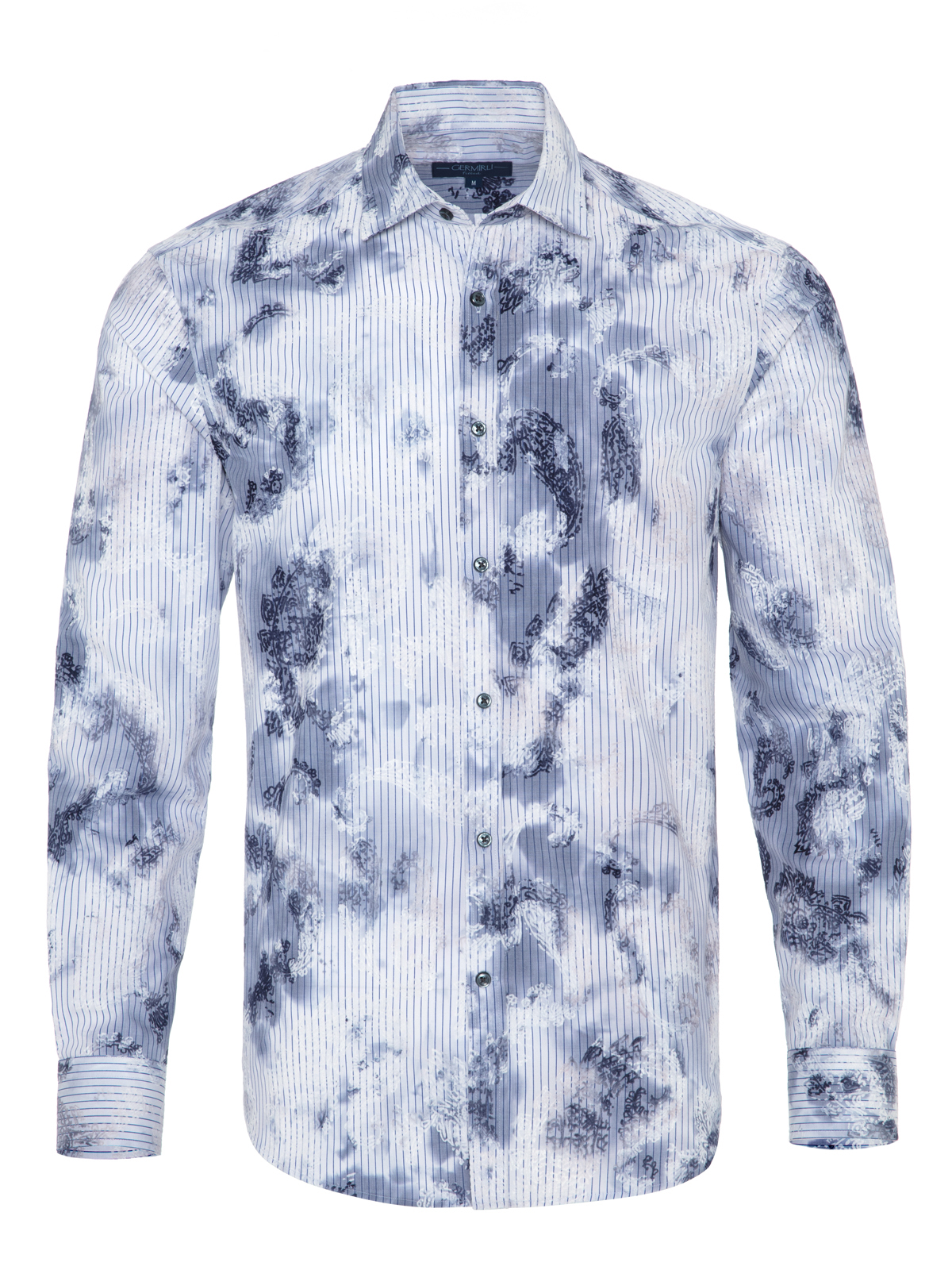 Germirli - Germirli Lacivert Beyaz Çiçek Nakışlı Klasik Yaka Tailor Fit Gömlek