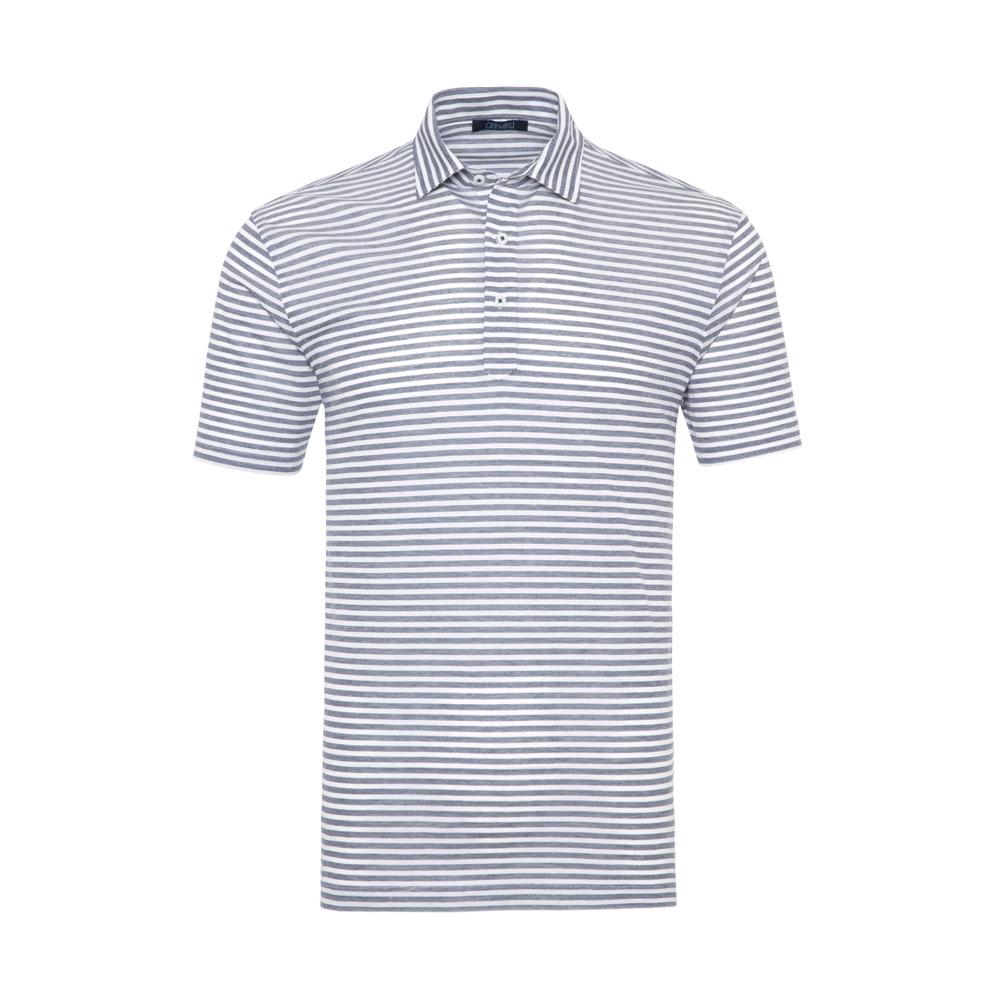 Germirli - Germirli Lacivert Beyaz Çizgili Gömlek Yaka Polo Tailor Fit T-Shirt