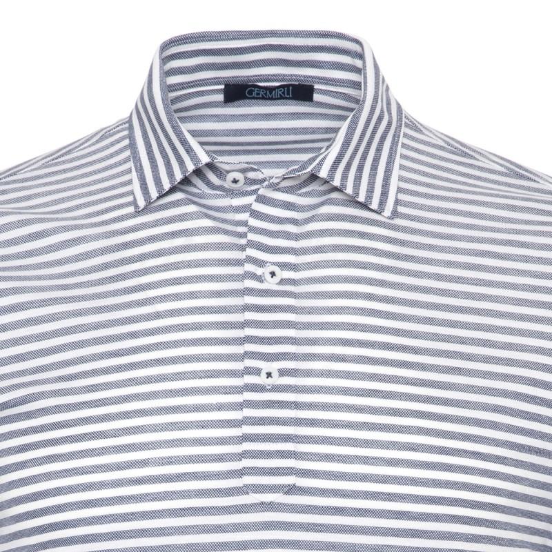 Germirli - Germirli Lacivert Beyaz Çizgili Gömlek Yaka Polo Tailor Fit T-Shirt (1)