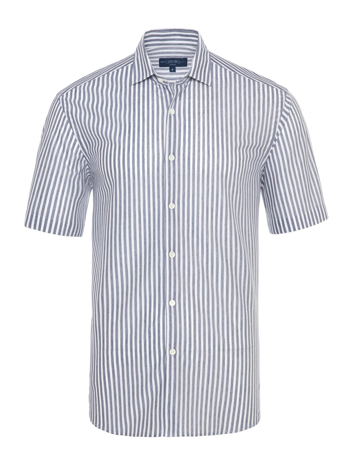 Germirli - Germirli Lacivert Beyaz Çizgili Kısa Kollu Soft Yaka Örme Tailor Fit Gömlek