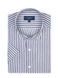 Germirli - Germirli Lacivert Beyaz Çizgili Kısa Kollu Soft Yaka Örme Tailor Fit Gömlek (1)