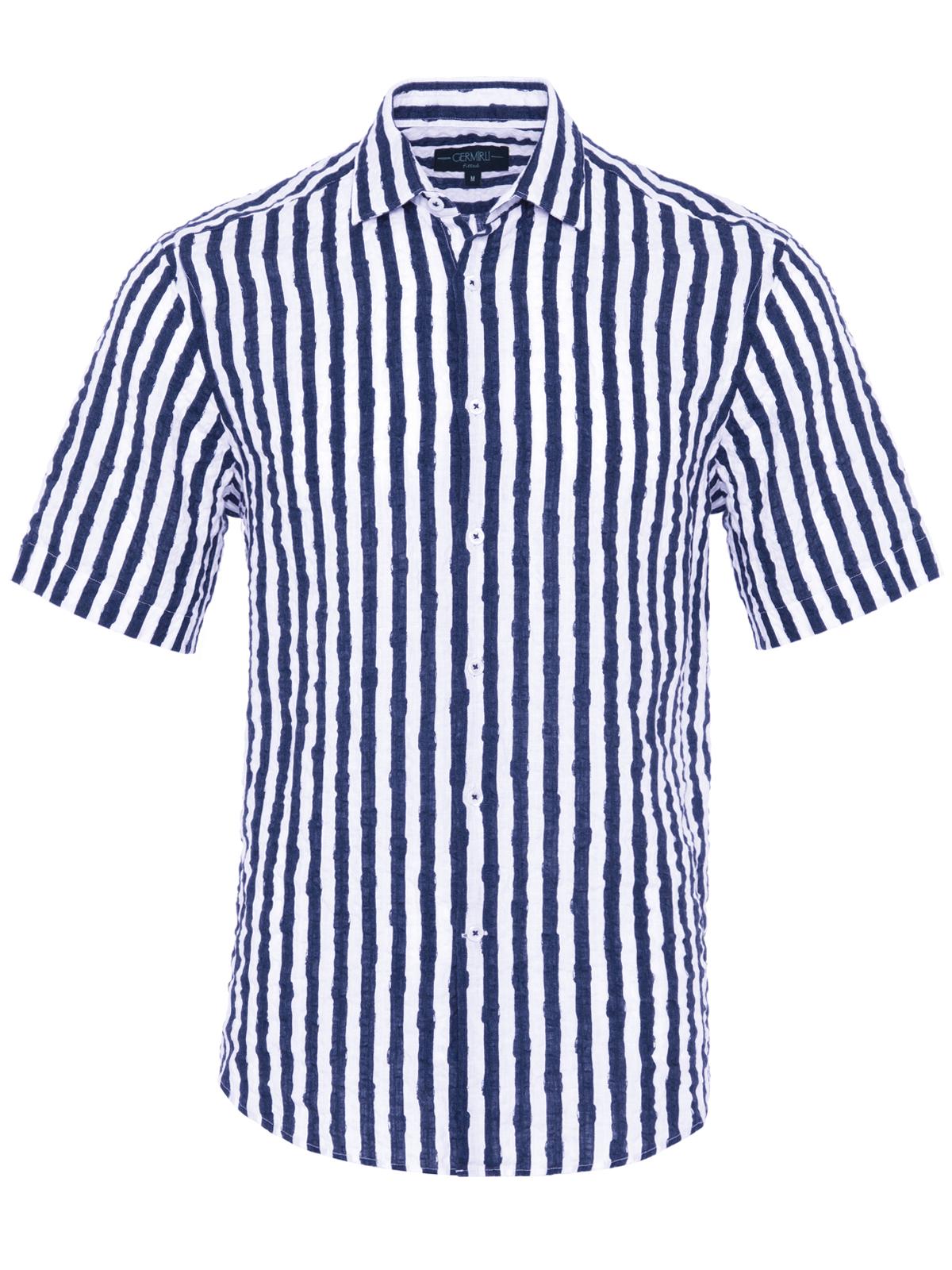 Germirli Lacivert Beyaz Çizgili Seersucker Kısa Kollu Tailor Fit Gömlek