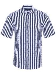 Germirli - Germirli Lacivert Beyaz Çizgili Seersucker Kısa Kollu Tailor Fit Gömlek