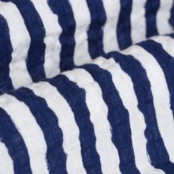 Germirli Lacivert Beyaz Çizgili Seersucker Kısa Kollu Tailor Fit Gömlek - Thumbnail