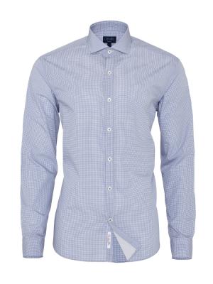 Germirli - Germirli Lacivert Beyaz Micro Desenli Klasik Yaka Tailor Fit Gömlek