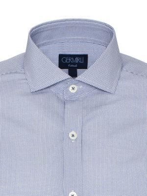 Germirli - Germirli Lacivert Beyaz Micro Desenli Klasik Yaka Tailor Fit Gömlek (1)