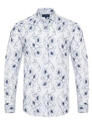 Germirli - Germirli Lacivert Çiçek Nakışlı Klasik Yaka Tailor Fit Gömlek