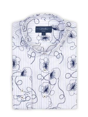 Germirli - Germirli Lacivert Çiçek Nakışlı Klasik Yaka Tailor Fit Gömlek (1)