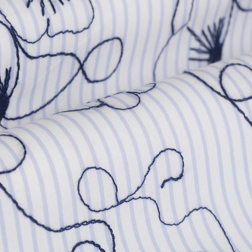 Germirli Lacivert Çiçek Nakışlı Klasik Yaka Tailor Fit Gömlek