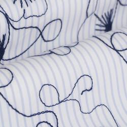 Germirli Lacivert Çiçek Nakışlı Klasik Yaka Tailor Fit Gömlek - Thumbnail