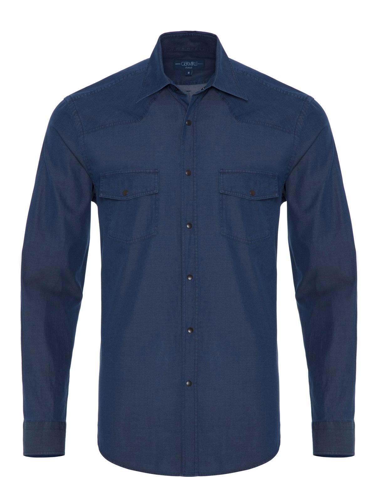 Germirli - Germirli Lacivert Denim Cepli Overshirt Tailor Fit Gömlek