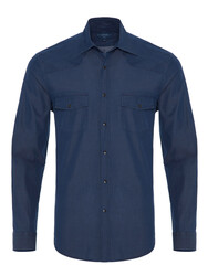 Germirli - Germirli Lacivert Denim Cepli Overshirt Tailor Fit Gömlek