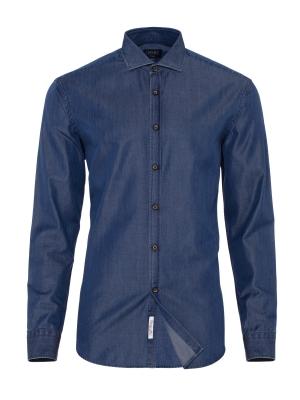 Germirli - Germirli Lacivert Denim Klasik Yaka Tailor Fit Gömlek