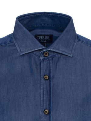 Germirli - Germirli Lacivert Denim Klasik Yaka Tailor Fit Gömlek (1)